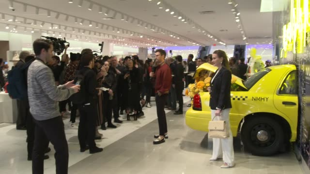 guests and signage at neiman marcus hudson yards grand opening at hudson yards on march 14, 2019 in new york city. - ニーマン・マーカス点の映像素材/bロール