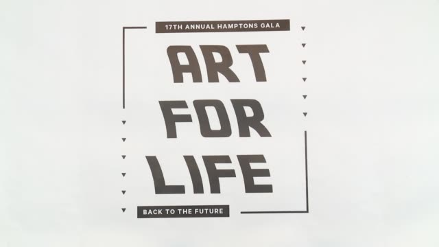 atmosphere guests and signage at russell simmons rush philanthropic arts foundation's 2016 art for life benefit at fairview farms on july 16 2016 in... - bridgehampton stock videos & royalty-free footage