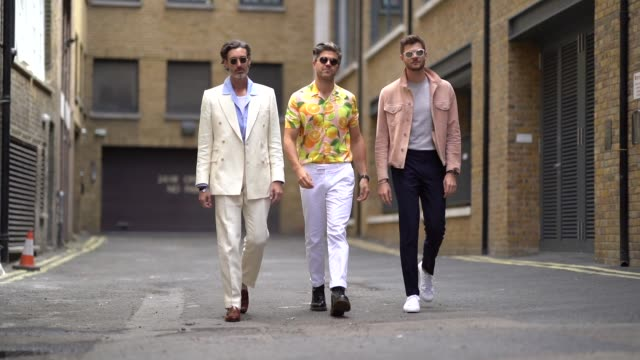 guests are walking, during london fashion week men's june 2018 on june 08, 2018 in london, england. - beard stock videos & royalty-free footage