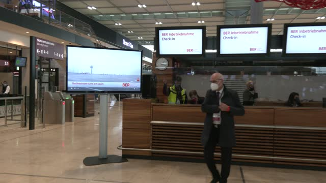 guests arrive at check in counter in the main departures hall on the first day of operation for the new ber berlin brandenburg airport on october 31,... - airport check in counter stock videos & royalty-free footage