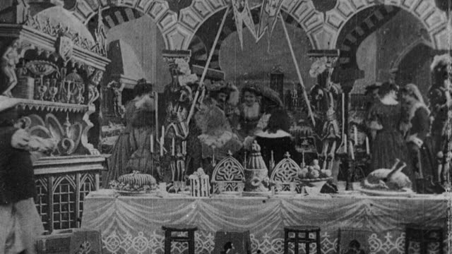 1901 b/w guests arriving at banquet celebrating dignitary's marriage - edwardian style stock videos & royalty-free footage