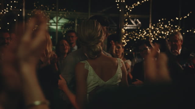 guests clapping for newlyweds dancing at wedding - ballroom dancing stock videos & royalty-free footage