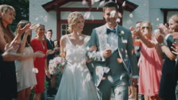 Guests throwing petals over couple outside church
