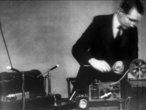 guglielmo marconi giving demonstration of his wireless telegraph machine / newsreel - newsreel stock videos & royalty-free footage