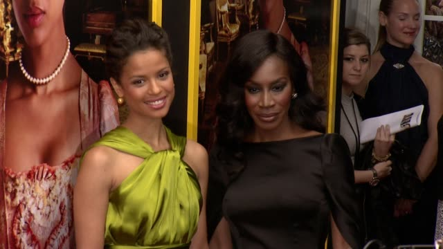 """gugu mbatharaw and amma asante at """"belle"""" new york premiere arrivals at the paris theater on april 28 2014 in new york city - paris theater manhattan stock videos and b-roll footage"""