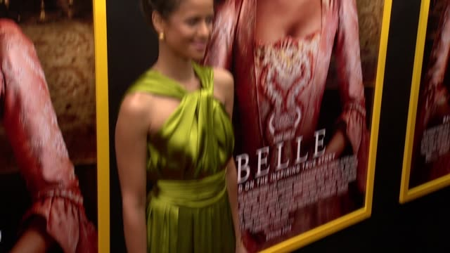 """gugu mbatharaw at """"belle"""" new york premiere arrivals at the paris theater on april 28 2014 in new york city - paris theater manhattan stock videos and b-roll footage"""