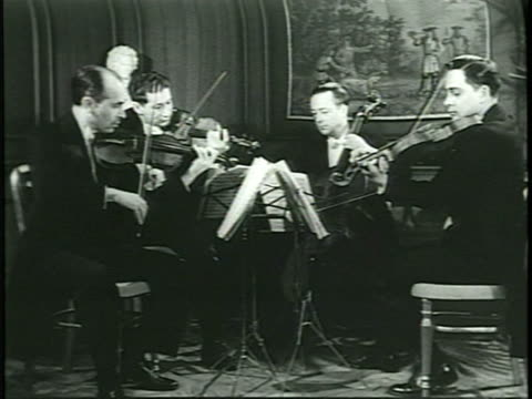 *'guilet quartet' performance poster la ws ensemble performing sot four musicians playing three violins cello vs musicians - 1899 stock videos and b-roll footage