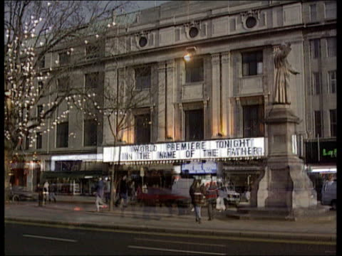 guilford four film eire dublin seq sign in the name of the father outside cinema night seq stars of the film including emma thompson and director jim... - emma thompson stock videos and b-roll footage