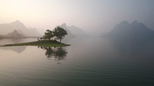 guilin hills at dusk ,china - yunnan province stock videos and b-roll footage