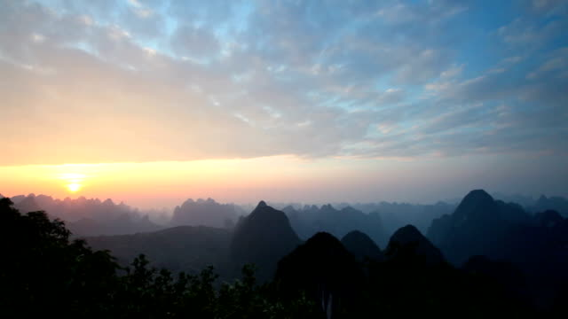 Guilin Hills at Dusk time-lapse photography