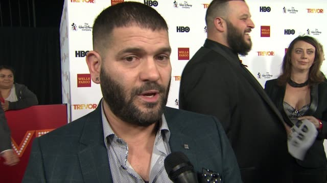 interview guillermo díaz on presenting tonight on getting involved with the trevor project at trevorlive los angeles 2015 at hollywood palladium on... - the trevor project stock videos and b-roll footage