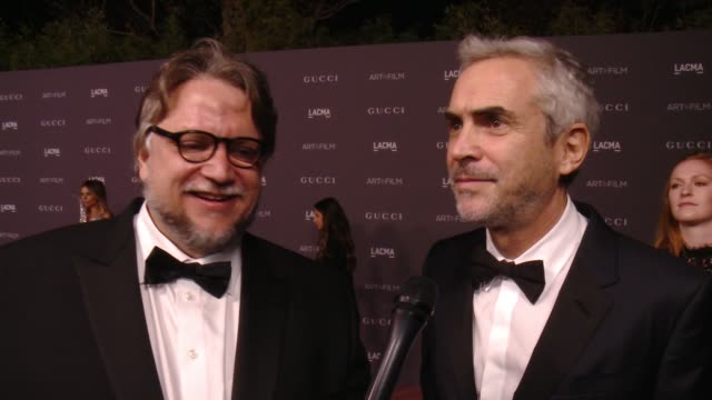 interview guillermo del toro alfonso cuaron on the event at 2017 lacma art film gala honoring mark bradford and george lucas presented by gucci in... - alfonso cuaron stock videos & royalty-free footage