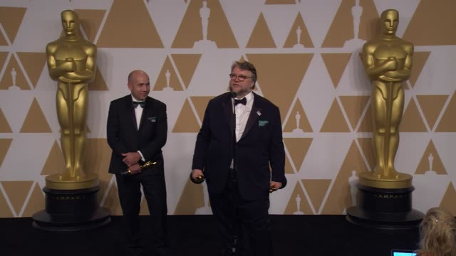 speech guillermo del toro at the 90th academy awards press room at the 90th academy awards press room at dolby theatre on march 04 2018 in hollywood... - 90th annual academy awards stock videos & royalty-free footage