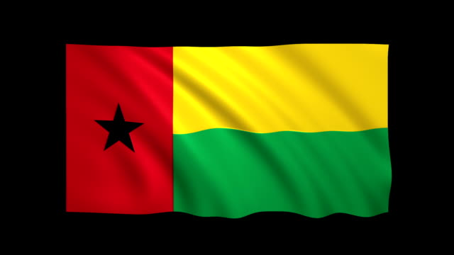 guinea - bissau flag loopable alpha included - stock video - satin stock videos & royalty-free footage