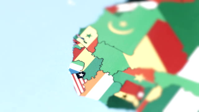 guinea borders with national flag on world map - geografia fisica video stock e b–roll