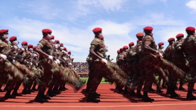 stockvideo's en b-roll-footage met guinea-bissau celebrates 47 years of independence from portugal with a military parade and a speech by the president, umaro sissoco embalo - clean