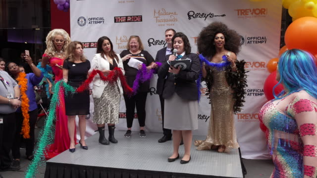 speech guiness book of world record announcement for the worlds longest feather boa at the world pride record with madame tussauds new york and... - madame tussauds stock videos & royalty-free footage