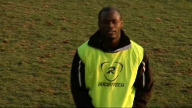 Guinness Premiership London Irish profile Topsy Ojo along on training pitch Topsy Ojo interview SOT Catt interview SOT CUTAWAYs Ojo training Ojo...