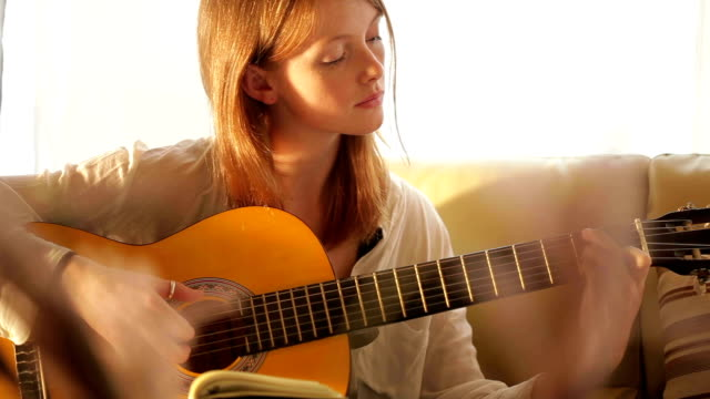 guitar girl    mu - guitar stock videos & royalty-free footage