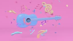 guitar pink blue colorful scene music instruments cartoon style 3d rendering