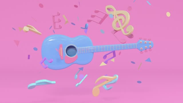 guitar pink blue colorful scene music instruments cartoon style 3d rendering - musical note stock videos & royalty-free footage