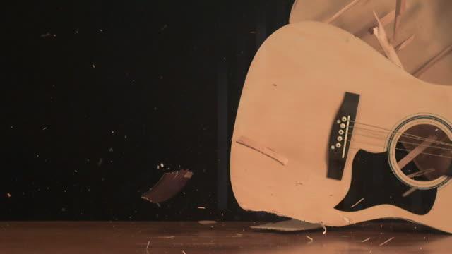 Guitar smashing on the floor (slow motion)
