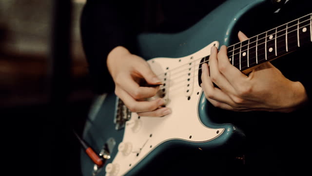 guitarist playing a guitar - rock group stock videos & royalty-free footage
