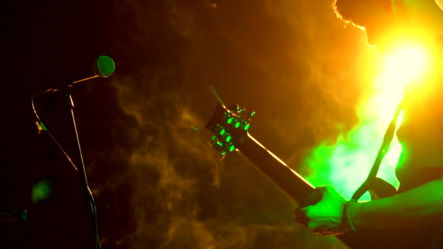 guitarist playing guitar close up - bass guitar stock videos & royalty-free footage