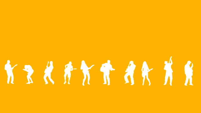 guitarist silhouettes -yellow background - rock stock videos & royalty-free footage