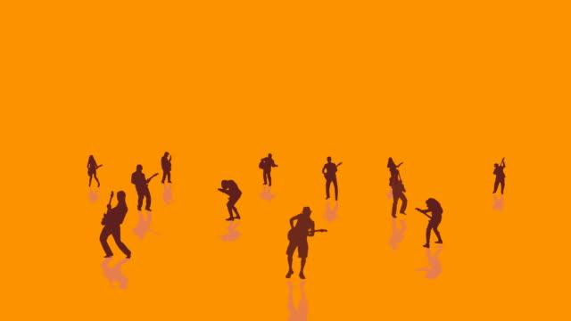 Gitarristen Silhouetten-orange Hintergrund