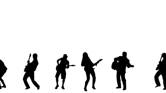 stockvideo's en b-roll-footage met guitarists silhouettes - muzikant