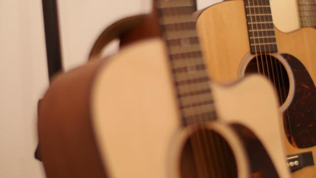 Guitars displayed in workshop