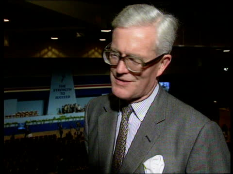 Edward Heath to meet Saddam Hussein Bournemouth Int'l Centre Douglas Hurd MP Foreign Sec intvwd Allen i/c Heath on stage as Sheilh Ali Khalifa Al...