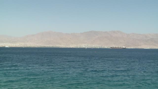 ws pan gulf of aqaba to eilat / eilat, mechoz hadarom, israel - bay of water stock videos & royalty-free footage