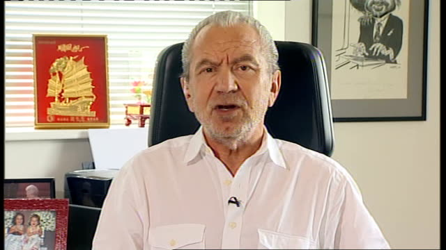 stockvideo's en b-roll-footage met bp criticised at congressional hearing / lord sugar comments england london int lord alan sugar interview sot feel sorry for tony hayward i think bp... - bp