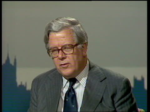 Geoffrey Howe interview ENGLAND London Westminster INTVW SOF 'I think one must 2 SHOT Howe Arms embargo'