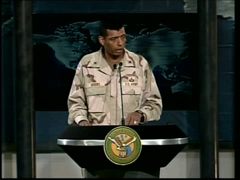 day 23 channel 4 news pool via rtv qatar doha us central command brigadier general vincent brooks press conference sot there are certain behavious... - channel 4 news stock videos and b-roll footage