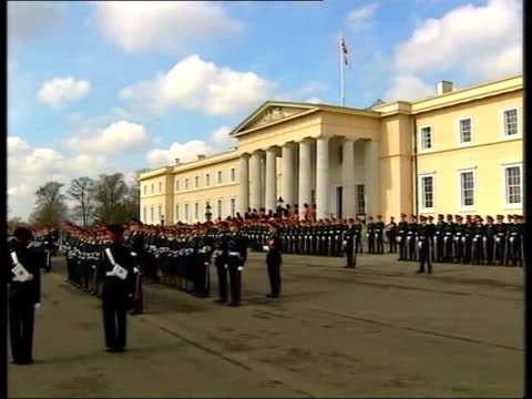 day 23 channel 4 news uk pool england sandhurst tony blair mp at passing out parade lgv troops lined up on parade ground ms blair inspecting troops... - channel 4 news stock videos and b-roll footage