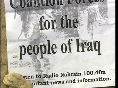 day 5 channel 4 news basra tcms tcss coalition leaflet exhorting people not to fight brigadier andrew gregory interview sot once we've got... - basra stock videos and b-roll footage