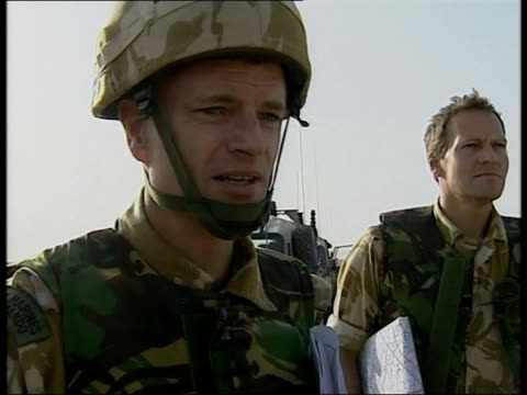 day 5 channel 4 news itn brigadier jim dutton interview sot mission was to secure oil infrastructure before it could be destroyed that's accomplished... - day 5 stock videos and b-roll footage