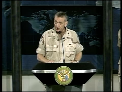 evening news; pool location unknown general tommy franks press conference sot - our resolve is great, morale is good - there is no doubt about the... - no doubt band stock videos & royalty-free footage