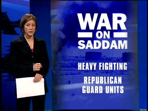 lunchtime news; itn england: london: gir int i/c with vrg graphic war briefing - 5日目点の映像素材/bロール