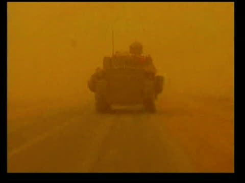 day 6 evening news tank along in sandstorm - iraq war stock videos and b-roll footage