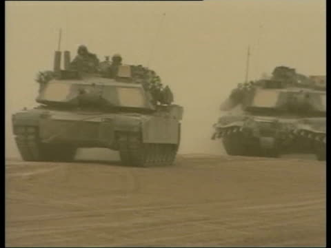 evening news; pool iraq ext us tanks along desert - iraq stock videos & royalty-free footage