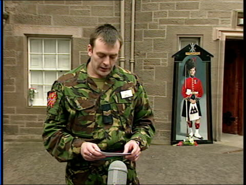 evening news; regiment spokesman paying tribute at press conference sot - spokesman stock videos & royalty-free footage