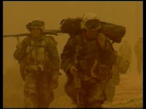 day 8 evening news troops patrolling gv us paladin selfpropelled howitzer gun firing gv burning vehicle - iraq war stock videos and b-roll footage