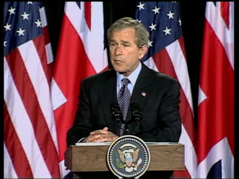 evening news; us president george w bush press conference sot - coalition forces are advancing day by day in steady progress against the enemy -... - saddam hussein stock videos & royalty-free footage