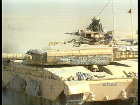 MS Challenger tank along thru desert LMS Tank seen from camera on another tank as thru desert TRACK