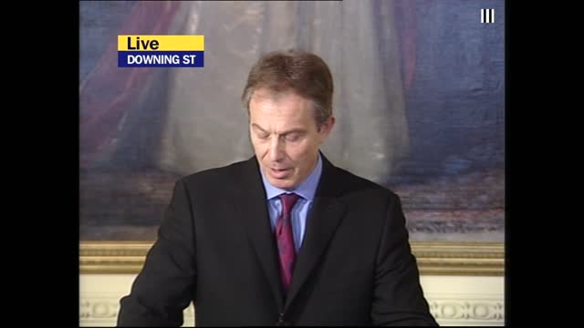 saddam hussein capture: itv lunchtime news pab; england: london: downing street: number 10: cms tony blair mp press conference sot - saddam has gone... - itv lunchtime news stock videos & royalty-free footage