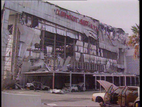 gulf war stranded ba flight 149 kuwait gv war damaged airport building and cars ms more ditto ms gutted building - damaged stock videos & royalty-free footage
